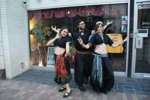Scheherazade, Hakan, and Sadira at a downtown Pittsburgh venue